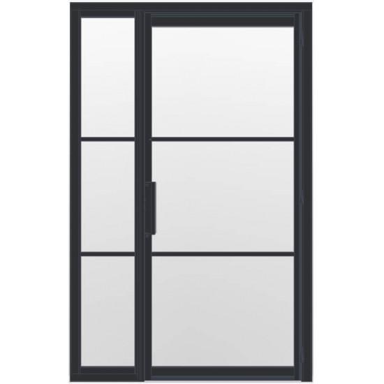 Industriële deur in kozijn met zijlicht INDU3 zwart