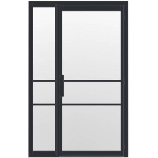 Industriële deur in kozijn met zijlicht INDU3A zwart