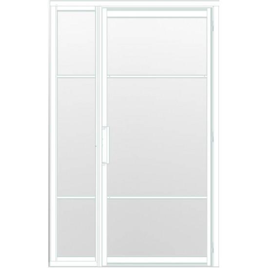 Industriële deur in kozijn met zijlicht INDU3B wit