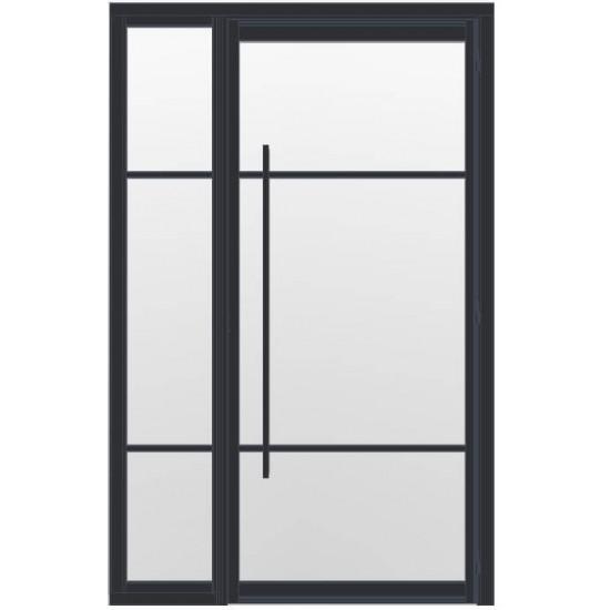 Industriële deur in kozijn met zijlicht INDU3B zwart