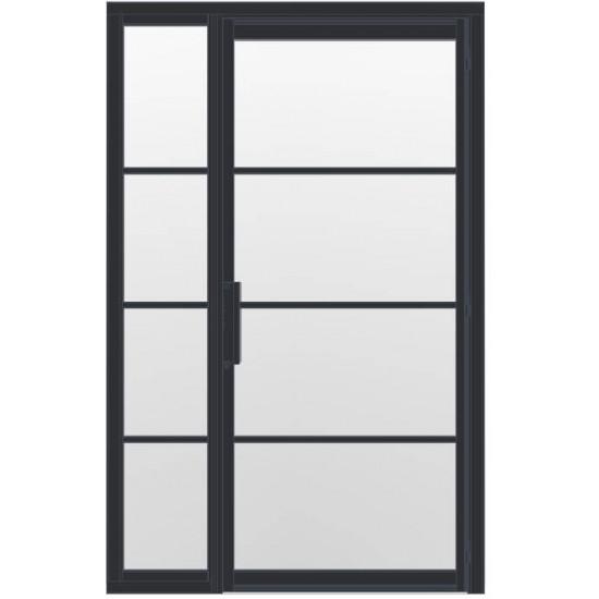 Industriële deur in kozijn met zijlicht INDU4 zwart