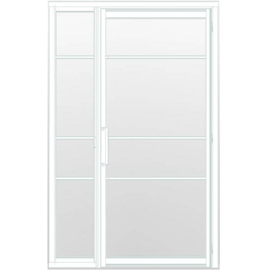 Industriële deur in kozijn met zijlicht INDU4A wit