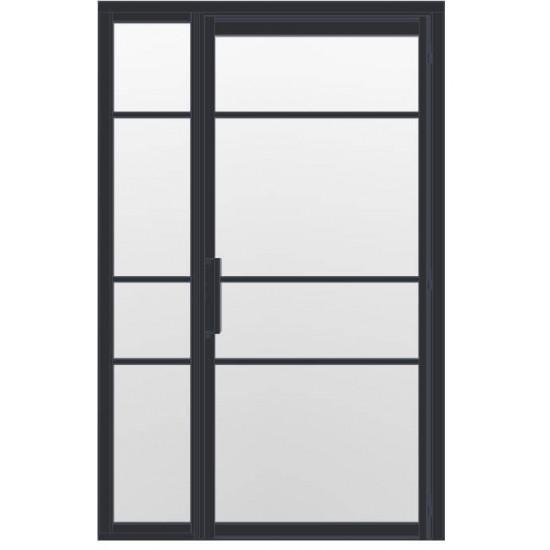 Industriële deur in kozijn met zijlicht INDU4A zwart