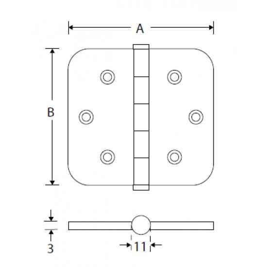 Kogellager scharnier 76x76 MGO vaas