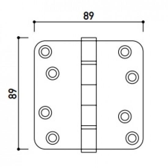 Kogellager scharnier 89x89mm mat zwart
