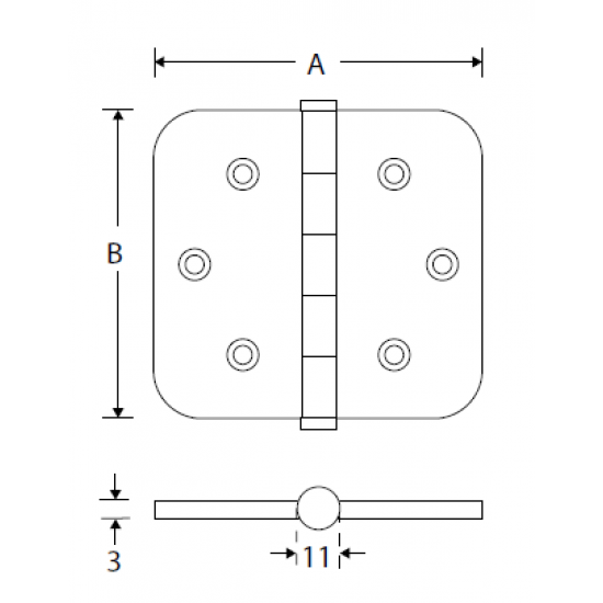 Kogellager scharnier 89x89 MMC vaas