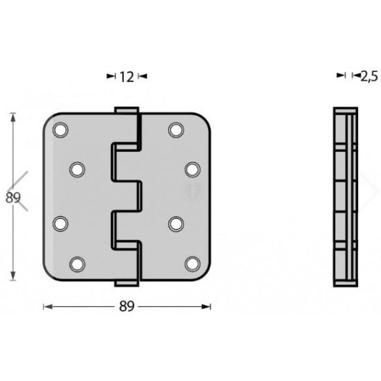 Decodeur kogellagerscharnier 89x89 mat zwart