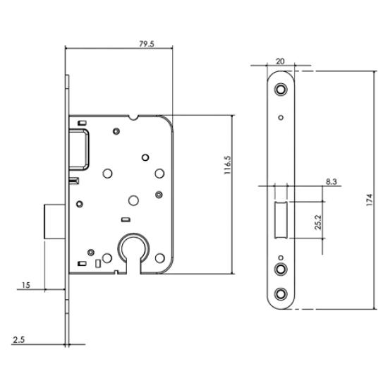 Mauer 1535 kast cilinderslot RVS